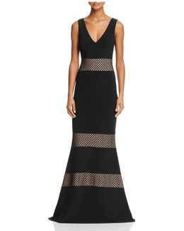 Netting Inset V-neck Gown