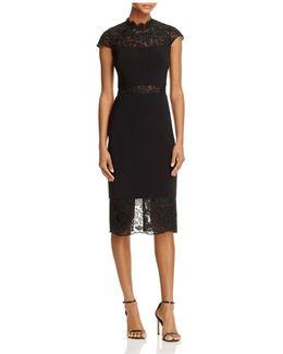 Mock Neck Lace Trim Dress
