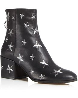 Matteo Star Embroidered Leather Booties