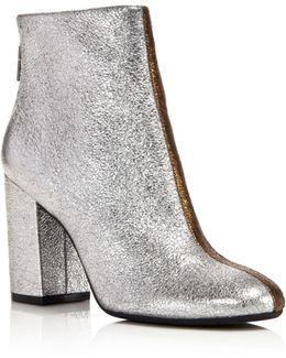Cassandra Leather Two-tone Metallic Block Heel Booties