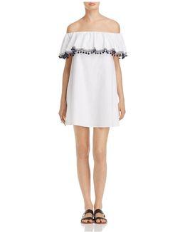 Off-the-shoulder Pom-pom Ruffle Dress