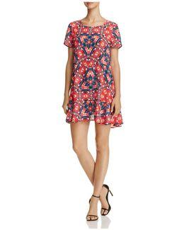 Printed Flounce-hem Dress