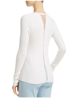 Lace Detail Ribbed Knit Top