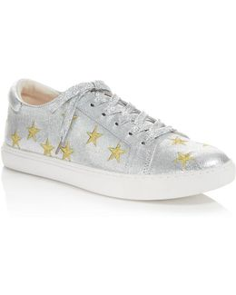 Kam Star Metallic Leather Lace Up Sneakers