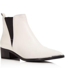 Yale Leather Pointed Toe Chelsea Booties