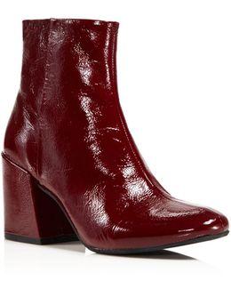 Randii Patent Leather Block Heel Booties