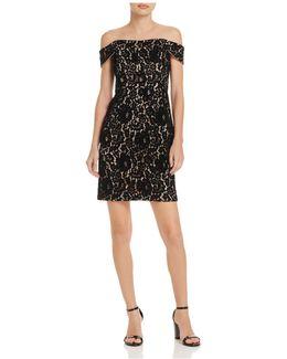 Off-the-shoulder Velvet Lace Dress