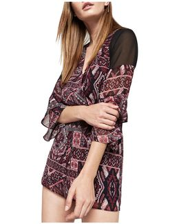 Printed Illusion-panel Romper
