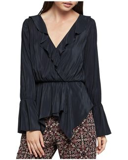 Ruffle-trimmed Crossover Top