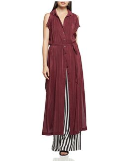 Split-sleeve Maxi Shirt Dress