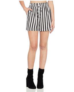 Striped Drawstring Utility Shorts