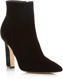 Mayae Velvet Pointed Toe High Heel Booties