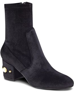 Previ Velvet Faux Pearl Embellished Booties