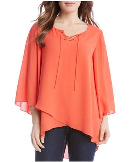 Tie Front Flare Sleeve Top