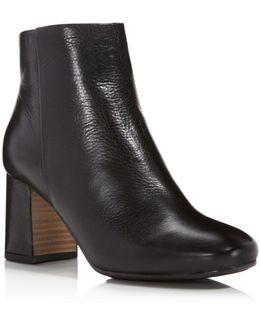 Troy Leather Block Heel Booties