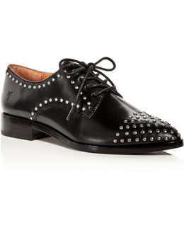 Erica Stud Embellished Leather Lace Up Oxfords