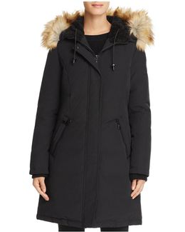 Hooded Faux Fur Trim Parka