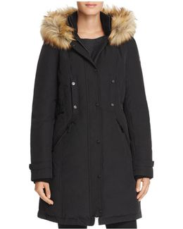 Side Belted Faux Fur Trim Anorak