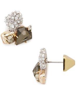 Stone Cluster Stud Earrings