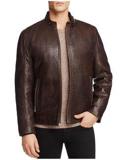 Leather Jacket Lined With Faux Shearling