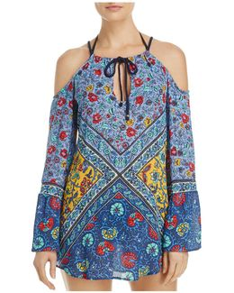Woodstock Cold Shoulder Tunic Swim Cover-up