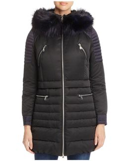 Fox Fur Trim Hooded Down Coat