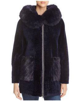 Hooded Lamb Shearling Coat