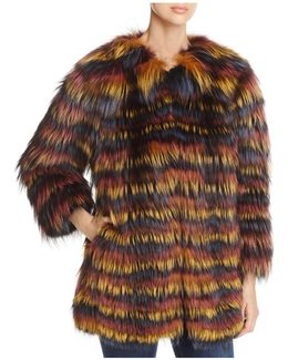 Multicolored Fox Fur Coat