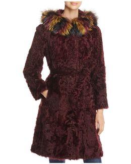 Fox Fur Hood Kalgan Lamb Fur Coat