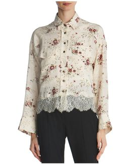 Lace-trimmed Floral Silk Shirt