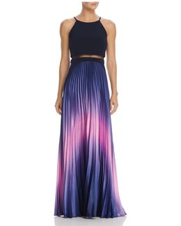 Ombré Pleated Illusion Waist Gown