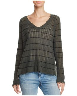 Distressed Striped Cashmere Sweater