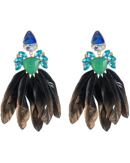 Stone & Feather Earrings