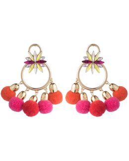 Pom Pom Chandelier Earrings