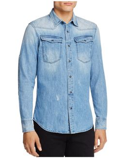 Spattered And Faded Denim Regular Fit Snap-front Shirt