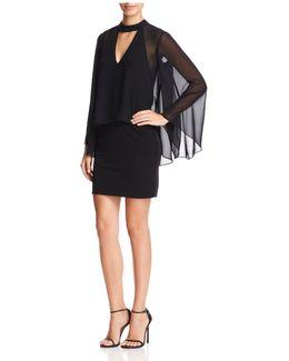 Chiffon-overlay Bell Sleeve Dress