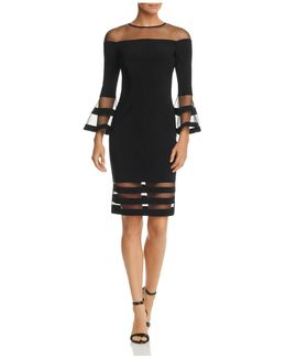 Illusion-neck Bell Sleeve Dress