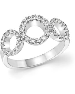 18k White Gold Triple Circle Diamond Ring