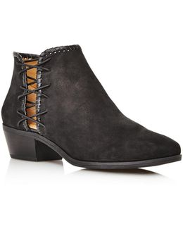Reagan Nubuck Leather Block Heel Booties