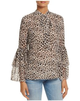 Bell Sleeve Leopard Print Top
