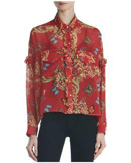 Ruffled Leaf & Butterfly-print Silk Shirt