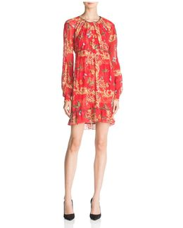 Ruched Leaf & Butterfly-print Silk Dress