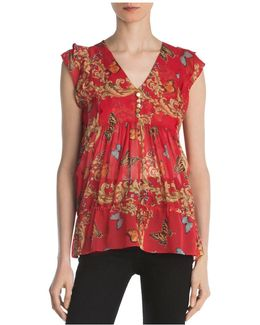 Ruched Leaf & Butterfly-print Silk Top