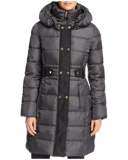 Contrast Placket Puffer Coat