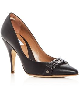 Logo Pointed Toe Pumps