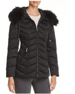 Paris Faux Fur Trim Puffer Coat