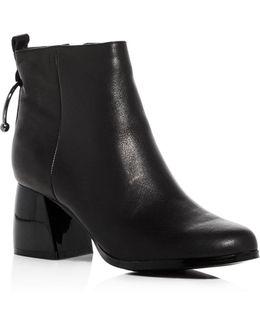 Women's Leather Bull Ring Block Heel Booties