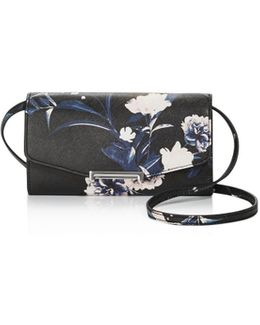 Mara Floral Print Saffiano Leather Wallet Crossbody