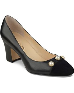 Landri Leather And Suede Faux Pearl Embellished Cap Toe Pumps
