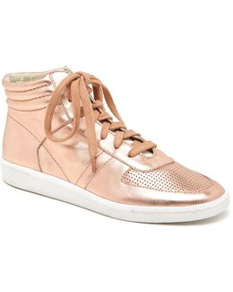 Nate Metallic Leather High-top Lace Up Sneakers